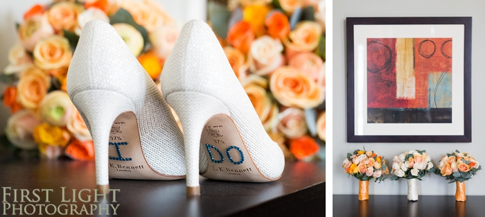 Orange/ peach/ nude Bridal details - shoes and flowers
