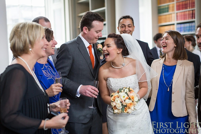Bride and groom at Signet Library wedding